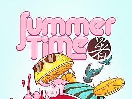 summer time 夏日西瓜以及大妞和粉猫