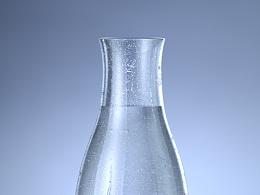 玻璃透明物体+水珠+冰渣渲染