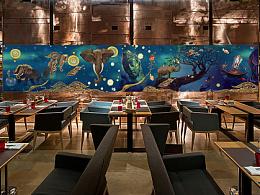 《一花一世界,一佛一如来》中国佛教油画风手绘墙作品,墙体彩绘,店面整体视觉包装,饭店酒店in站酷