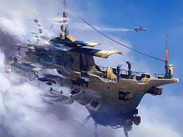 【无水印版】学生作品————欧美风飞船原画设定