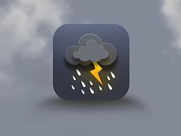 微写实雷雨天气小图标-临摹