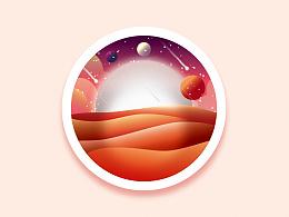 梦幻星球插画临摹