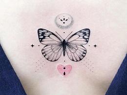精致女生纹身大合集多种元素组合排列.黑白与彩色搭配