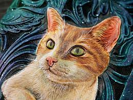 【革也皮雕】银河护卫喵——星空猫咪大手包