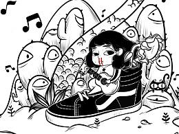 一些黑白插画
