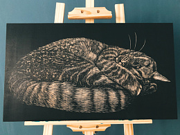 手工雕刻黑白木刻版画【猫咪】