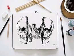美在恶中(手绘画)