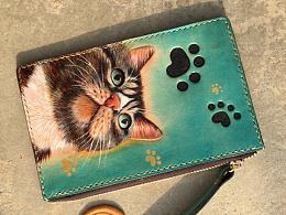 皮雕零钱包猫咪主题一套