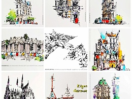 《高红成钢笔淡彩建筑风景速写作品集》