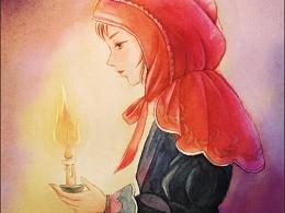 """原创水彩插画""""与其抱怨黑暗,不如点亮一点一支蜡烛"""""""