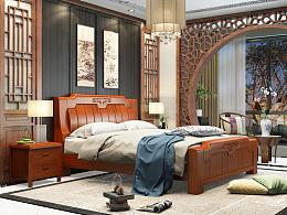 实木床-3D效果图