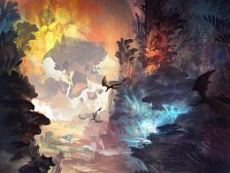 一张参考海底植物元素的场景概念