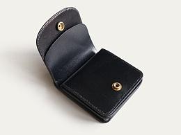 KOUTEN纯手工设计/原创黑色小牛皮短钱包更新