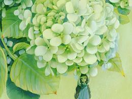 春日绣球花少女
