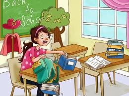 儿童插画-学校