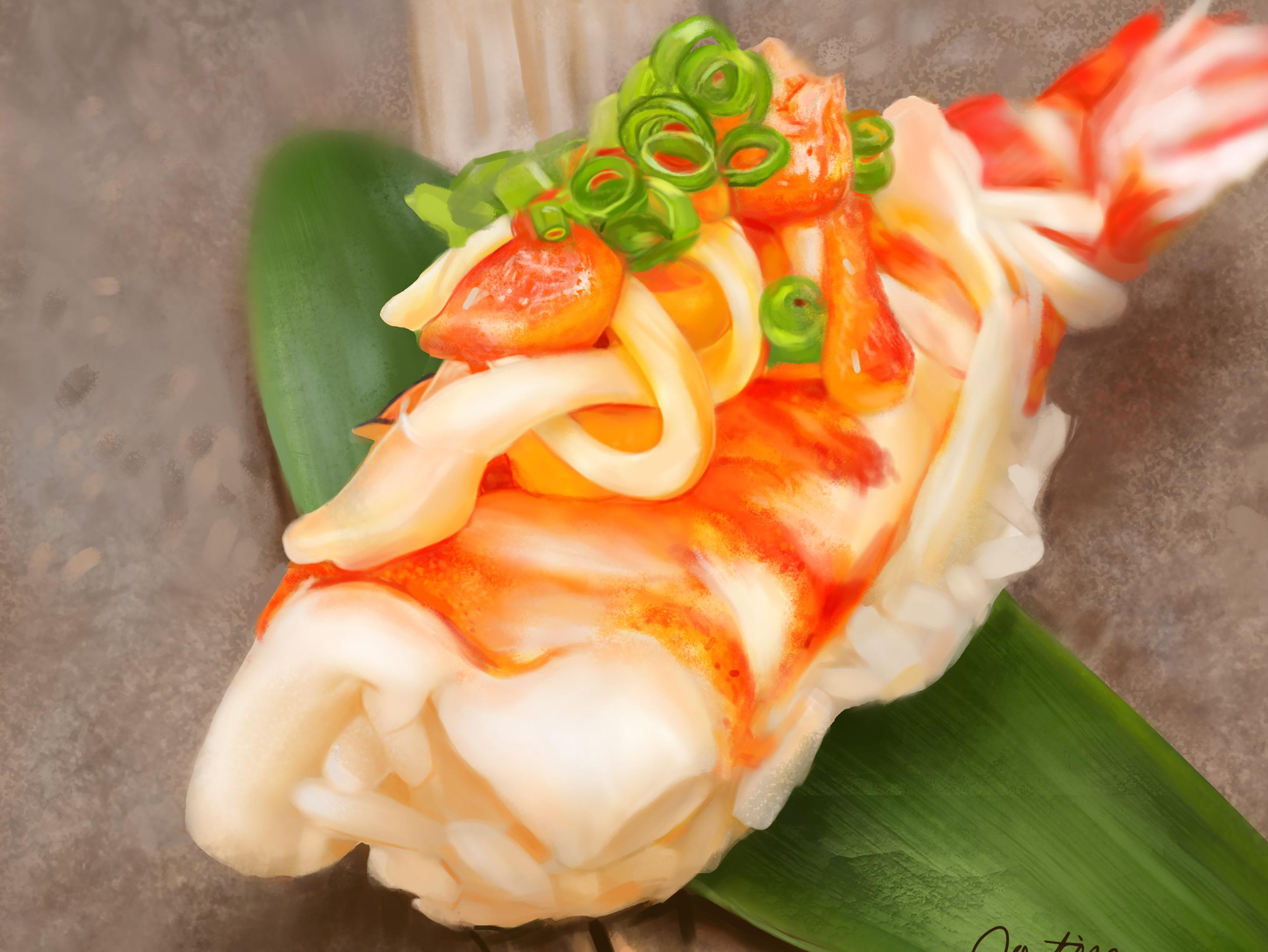手绘寿司三文鱼