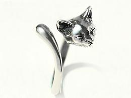 骸首饰设计师原创【喵星人】暹罗猫动物戒指女手工925纯银开口