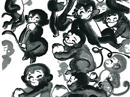 一风作品《百猴闹春图》