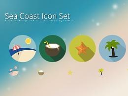 Sea Coast Flat Icon Set 海岸度假风 扁平化小图标