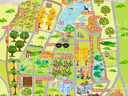 庄园手绘地图设计.景区游乐园度假村手绘地图定制