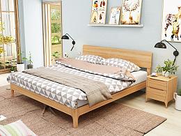 北欧风格实木床,实木家具设计一一《卧室晨光》 家具3D效果设计 ,卧室设计