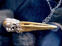 骸首饰设计师原创丹顶鹤鸟头骨女骷髅项链长锥形吊坠手工925纯银