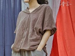 【向日葵记忆】女士夏装棉麻宽松百搭短袖文艺衬衫