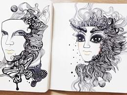 线描画-假面美人