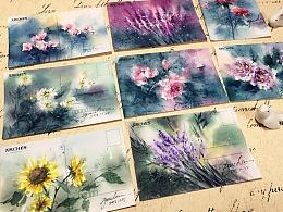 一系列明信片和绘画视频