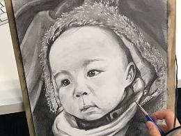 素描婴儿人像