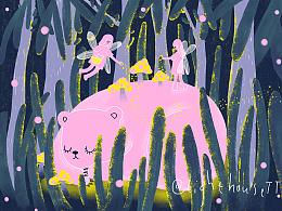 云朵工厂#说晚安吧#让我用插画,跟你说一句,晚安