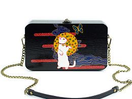 手艺盟  原创设计手工木头包包  手绘招财猫咪