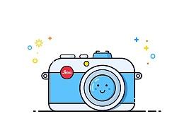 相机图标作业——插画风扁平图标
