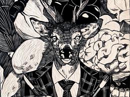 【鹿】手工雕刻黑白木刻版画装饰画