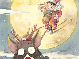圣诞狗拉车