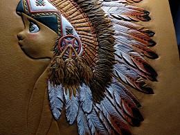皮雕《印第安闺女儿》