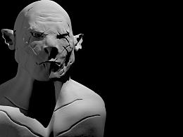 《霍比特人》阿索格Azog 雕刻建模(C4D练习)
