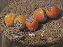 彩铅画《五柿》