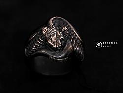 骸首饰原创设计 蝰蛇解剖 毒蛇戒指 骷髅骨骼戒指925银 蛇戒指男