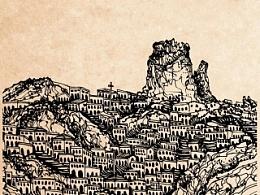 古城明信片设计