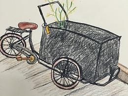 手绘彩铅自行车