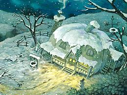 【童画世界 by 雪娃娃】下着大雪的黑夜......