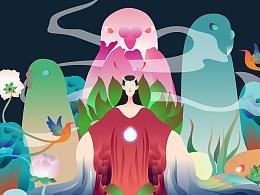 彩色绘--异界山神