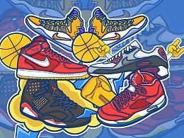 耐克球鞋插画