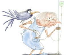 儿童插画·挂盐水的老太