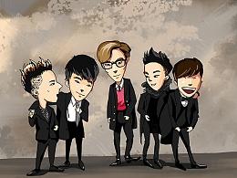 比格棒Bigbang广州演唱会宣传小游戏卡牌绘制