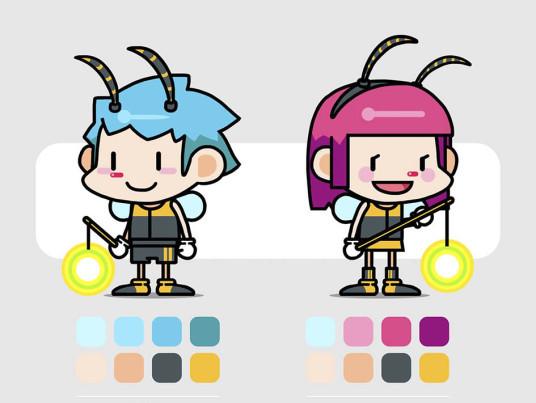 萤火虫的两种方向卡通形象练习图片