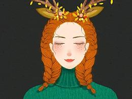 原创森系少女插画