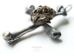 骸首饰原创大号云豹头骨十字架手工925纯银朋克男动物骷髅吊坠