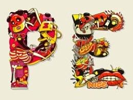 P.E.M.S字母插画设计